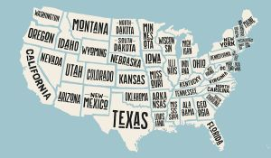 Map of the contiguous United States of America