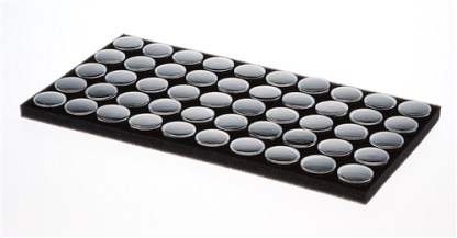 "50Pc 1-1/8"" x 1/2"" Black Gem Holder in a Black Foam and tray"