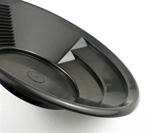 "12"" Gold Pan, Dual Riffles - Black"