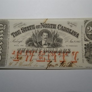 $20 - 1863 STATE OF NORTH CAROLINA -CR# 119 - UNC.