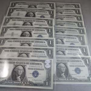 1957-B 15 Consecutive Number Silver Certificates - Uncirculated