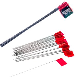 50Pc- Rectangular Camping/ Marker Red Flag 21in. Metal Handle