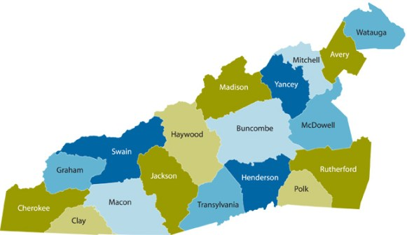 The counties of Western North Carolina
