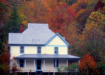 Visitors may go into the Caldwell House, which remains standing in Cataloochee Valley. Image courtesy of the Great Smoky Mountains National Park.