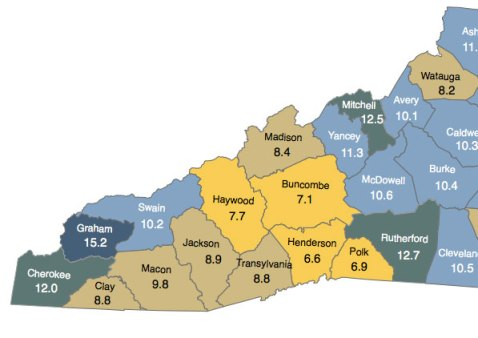 June 2013 unemployment across Western North Carolina. Map courtesy of the N.C. Department of Commerce.
