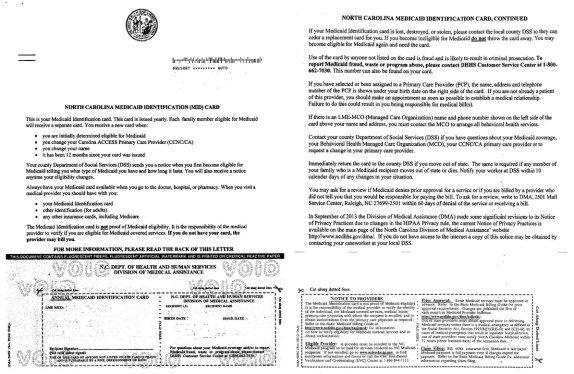 A sample of a Medicaid card issued by the N.C. Department of Health and Human Services. Click to view full-size image.