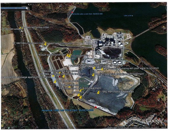 One inspection report from the N.C. Department of Natural Resources obtained by Carolina Public Press provided this map of the facility and the location of the dams. See below for the full report. Click to view the full-size image.