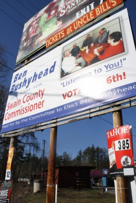 In some, more rural portions of Western North Carolina, nearly every billboard is filled with a message from a candidate running for office. Gwen Albers/Carolina Public Press