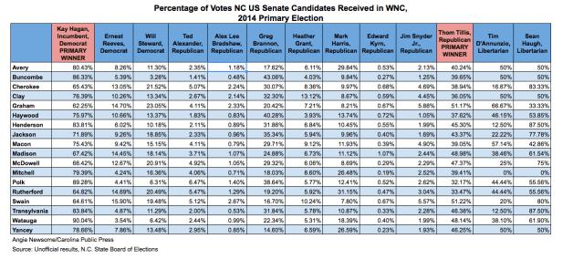 How WNC voted in U.S. Senate primary, 2014