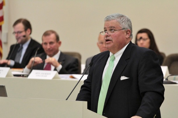 Budget co-chair Sen. Tom Apodaca, R-Henderson, answers questions on the Senate budget proposal in May. Kirk Ross/Carolina Public Press