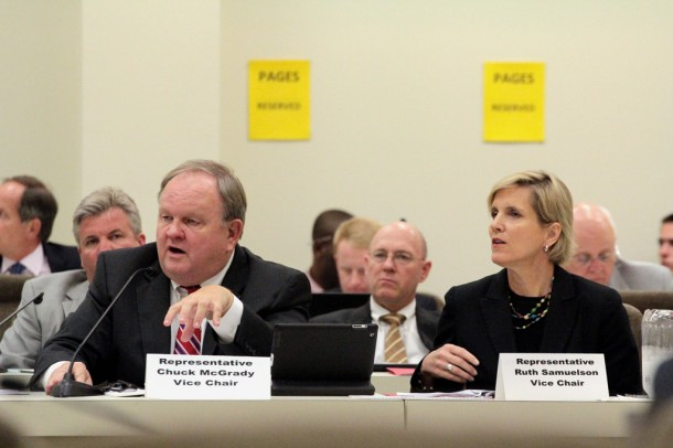 Coal ash legislation sponsors Reps. Chuck McGrady (R-Hendersonville) and Ruth Samuelson (R-Charlotte) speak during a hearing last week in the House Environment Committee. Kirk Ross/Carolina Public Press