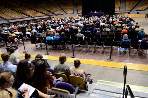 Several hundred people filled the floor of Ramsey Center at Western Carolina University, nearly all of them opposing rules that would make fracking possible in North Carolina. Paul Clark/Carolina Public Press