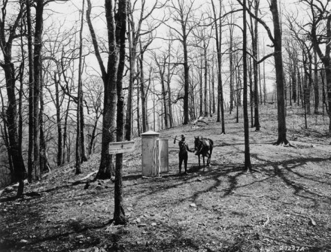 Government tool house and signboard, Swing and Lick Gap. Nantahala National Forest, North Carolina, 1916. Click to view full-size image.