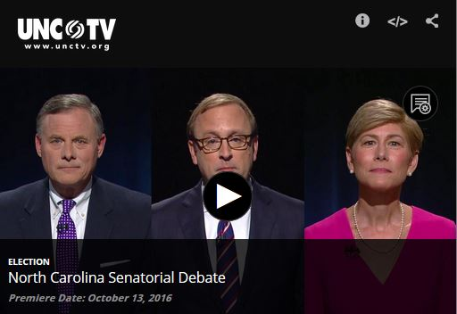 Incumbent U.S. Sen. Richard Burr, a Republican, and challenger Deborah Ross, a Democrat, debated the issues on Oct. 13. Here is the full video from that debate.