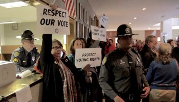 Protestors angry about N.C. legislation.