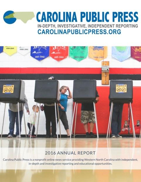 Cover of the Carolina Public Press 2016 Annual Report