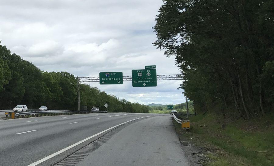 Interstate 26 approaching U.S. 74.
