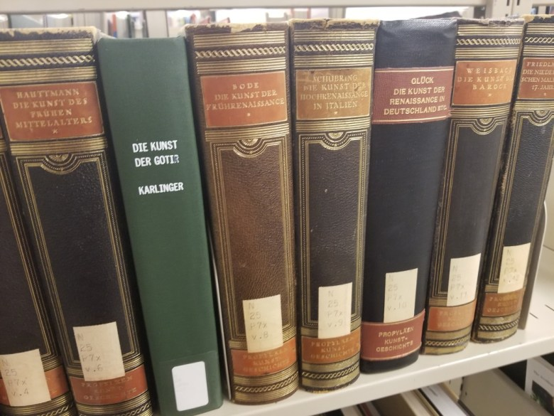 German-language art history books at UNC-Asheville library.