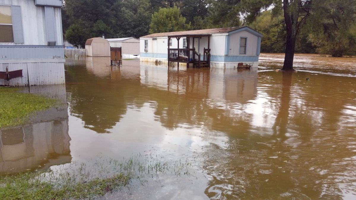 Mobile home park near Siler City in Chatham County flooded by Lowe's Creek after Hurricane Florence in Sept. 2018.