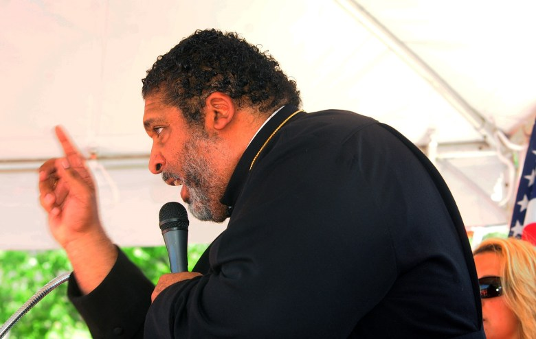 Rev. William Barber Jr. addresses teacher rally in Raleigh on May 1, 2019.