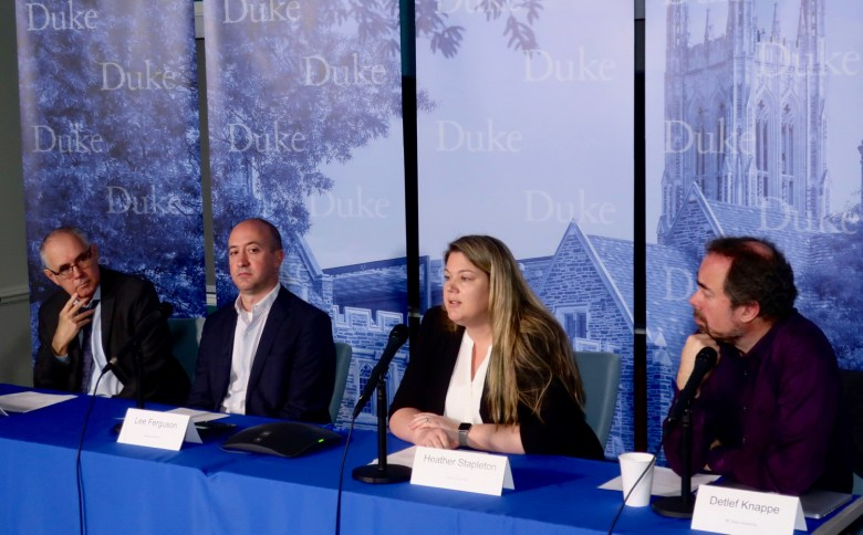 Researchers (from left) Avner Vengosh, Lee Ferguson, Heather Stapleton, Detlef Knappe provide an update on new studies of chemicals in the water supply as they appear last month at Duke University. Kirk Ross / Carolina Public Press