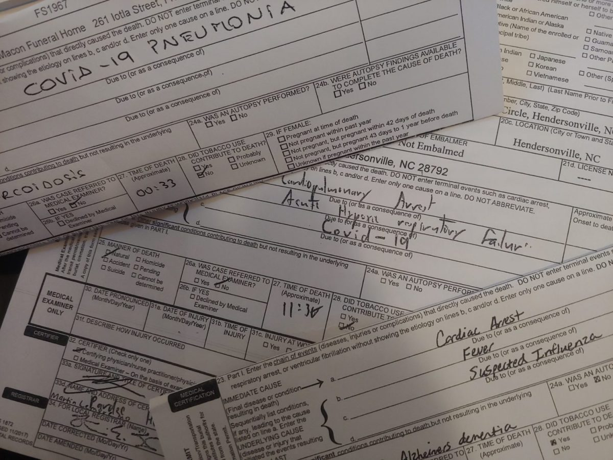 Death certificates from North Carolina residents who died since March 1 show many who died from symptoms similar to those who died from illnesses related to COVID-19, but without any record of them having been tested for the virus. Frank Taylor / Carolina Public Press