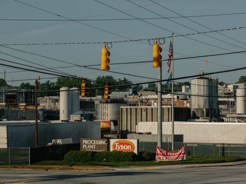 The Tyson processing facility in Wilkesboro ceased operations after 570 workers tested positive for COVID-19, the company said. Meatpacking plants across North Carolina are connected to major outbreaks, but state officials are withholding information about the size of outbreaks at specific plants. Jacob Biba / Carolina Public Press