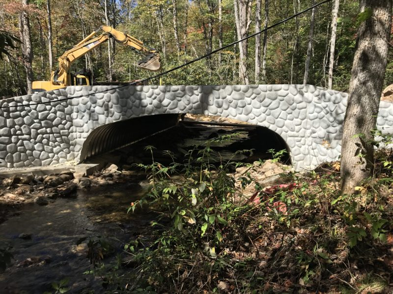 Heavy equipment performs work on bridge in the national forests. Photo courtesy of Trout Unlimited