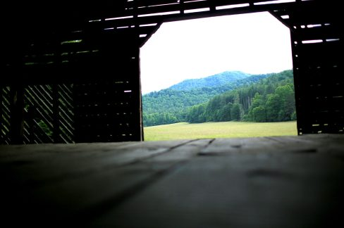 Barns, churches and a few homes still stand in the valley, allowing visitors to also connect with the area's human history. The field pictured here was probably once used as farmland. (Colby Rabon / Carolina Public Press)