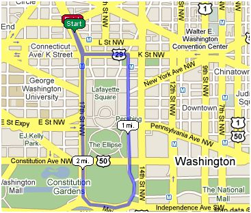 3-Mile Course in DC - White House - Monument