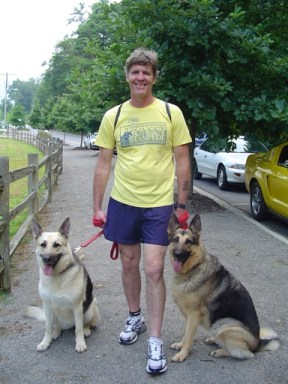 Dennis Duffy - 72nd Overall and One of the Top Finishers with German Shepherds Present! (Gretchen - right, Sasha - left)