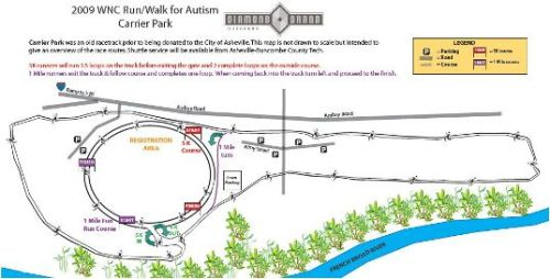 2009 Autism 5k Course Map at Carrier Park