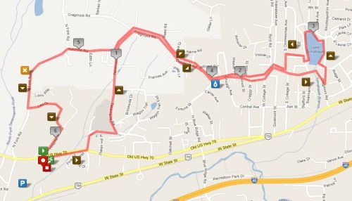 Black Mountain Greenway Challenge 10k Course (click for interactive version at MapMyRun)