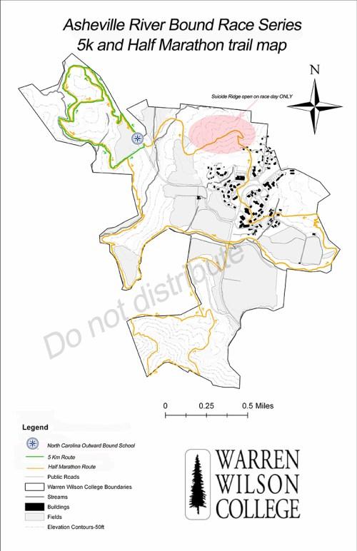 Asheville River Bound Series 5k and Half Marathon Course Maps