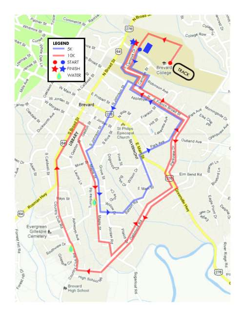 Brevard White Squirrel 5k and 10k Combined Course Map (click for larger version)