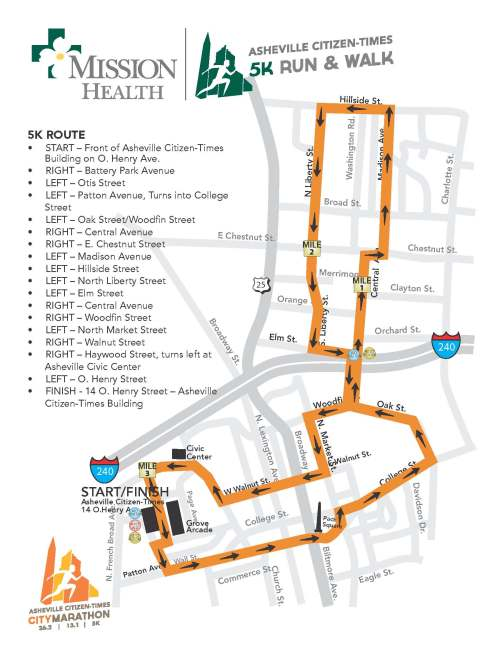 2013 Asheville Citizen-Times 5k Course Map (click for larger image)