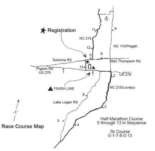 Bethel Half Marathon and 5k Course Map