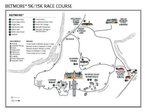 Biltmore Kiwanis 15K + 5k Course Map (click for larger version)