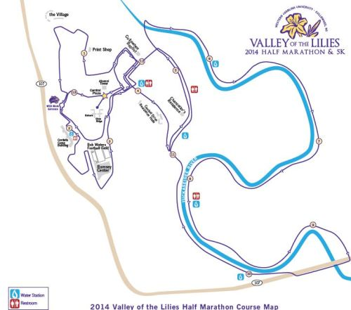 Valley of the Lilies Half Marathon Course (click for large PDF)