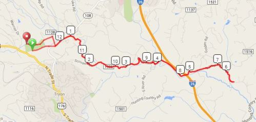 Tryon Half Marathon Course (click for interactive version)
