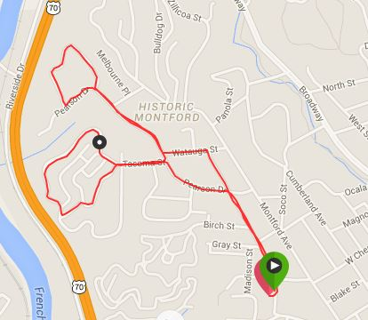 Jingle Bell 5k Course (click on image for interactive version)