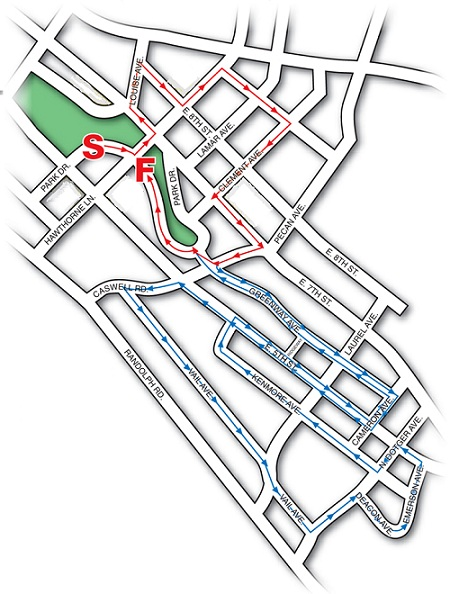 Elizabeth 8k Road Race Course Map