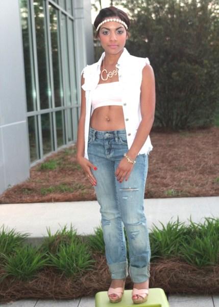 Sea Foam Hudson Skinny Jeans- Jordano's White Denim Vest- Jordano's Baby Pink Bandu- Jordano's Accessories- Vintage