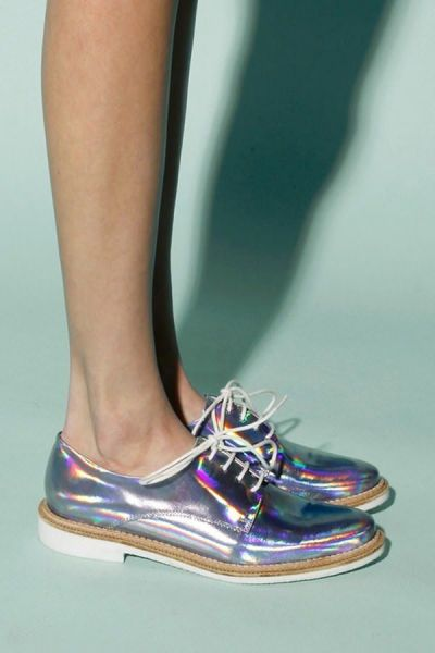 Holographic Lace-up Oxford