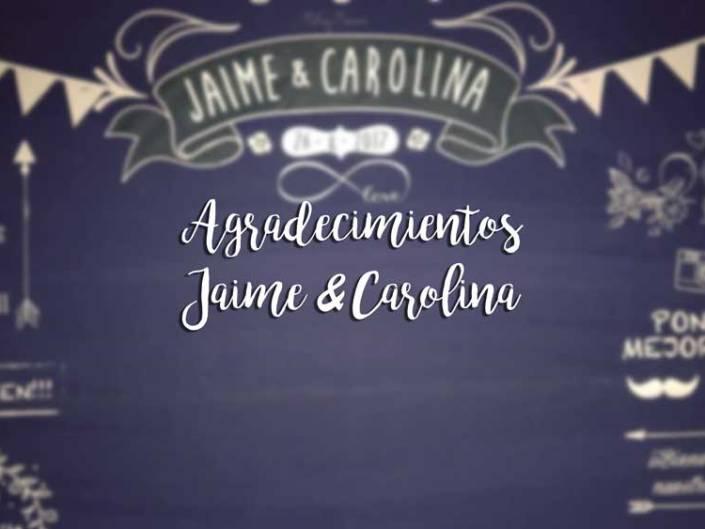 Agradecimientos Jaime & Carolina