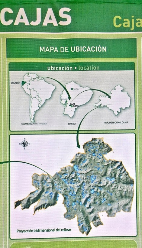 map shows where we are in relation to South America and Ecuador with detail of the Cajas National Park and the lakes.