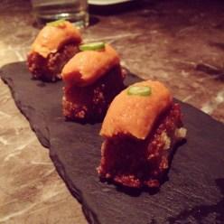 Tuna tartare on crispy rice at Makoto