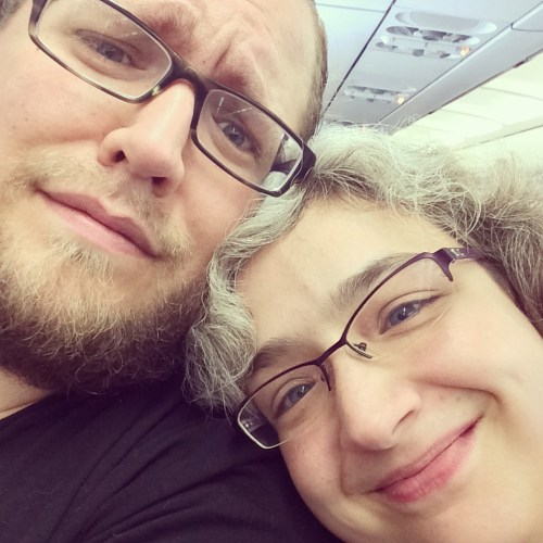 Couple on a plane selfie