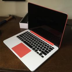 Interior matte white/red-orange
