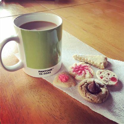 Breakfast of champions, with my new Pantone mug. Thanks, Automattic!